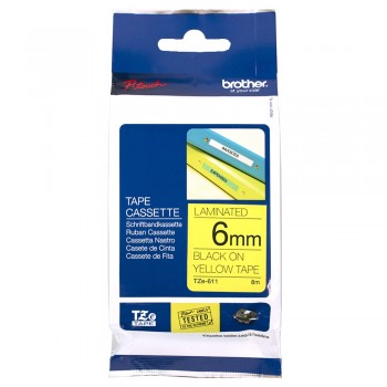 Brother TZe-611 black on yellow (6mm) Tapes