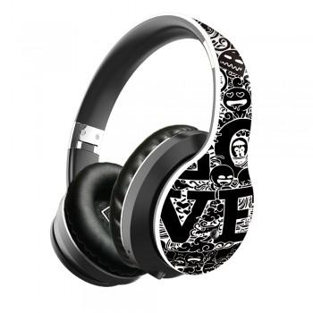 Lule Wireless Bluetooth Graffiti Design Earphone - White