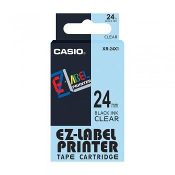 Casio Ez-Label Tape Cartridge - 24mm, Black on Clear (XR-24X1)