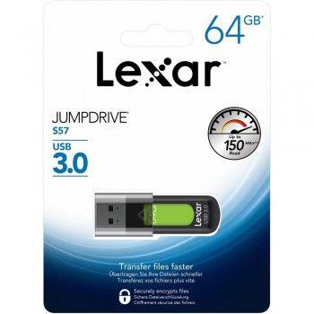 Lexar S57 Jumpdrive 64GB USB 3.0 Flash Drive (up 150MB/s read)