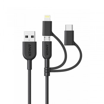 Anker PowerLine II 3-in-1 Lightning/Type-C/Micro Connector Cable Black (0.9M)