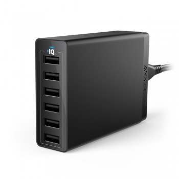 Anker A2123 PowerPort 60W 6-Port USB Desktop Charger - Black