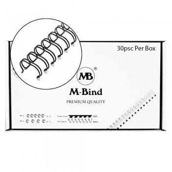 "M-Bind Double Wire Bind 2:1 A4 - 1-1/2""(38mm) X 23 Loops, 30pcs/box, Black"