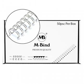 """Double Wire Bind 3:1 A4 - 5/8""""(16mm) X 34 Loops, 50 pcs/box, Silver"""