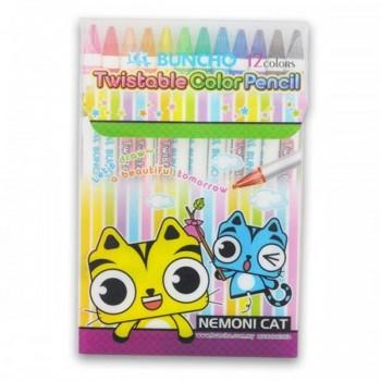 Buncho Twistable Color Pencils - 12 colors