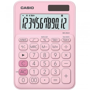 Casio Colourful Calculator - 12 Digits, Solar & Battery, Tax & Time Calculation, Pink (MS-20UC-PI)
