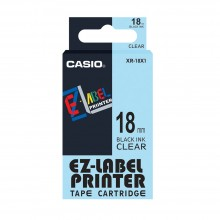 Casio Ez-Label Tape Cartridge - 18mm, Black on Clear (XR-18X1)