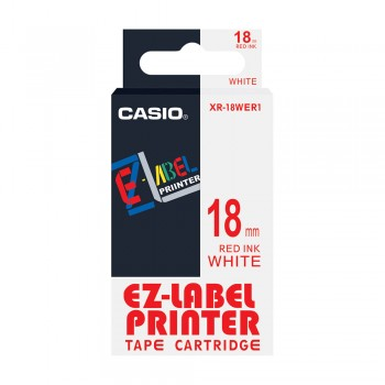 Casio EZ-Label Tape Cartridge - 18mm, Red on White (XR-18WER1)