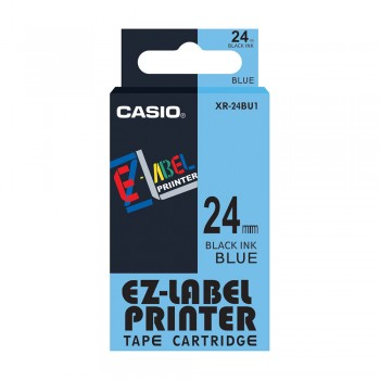 Casio Ez-Label Tape Cartridge - 24mm, Black on Blue (XR-24BU1)