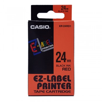 Casio Ez-Label Tape Cartridge - 24mm, Black on Red (XR-24RD1)