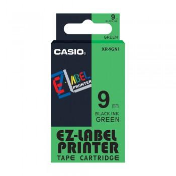 Casio Ez-Label Tape Cartridge - 9mm, Black on Green (XR-9GN1)