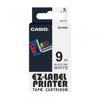 Casio Ez-Label Tape Cartridge - 9mm, Black on White (XR-9WE1)