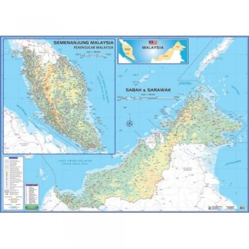 "Map Of Malaysia M206M – East & West (Magnetic) H42"" x W58"""