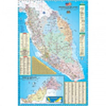 "Map Of Malaysia Road Map & Highway Guide M122 - (Laminated) H24"" x W36"""