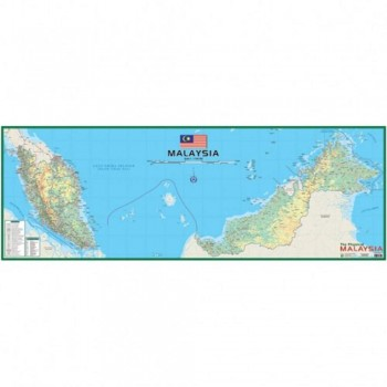 "Map Of Physical Malaysia M202M - (Magnetic) H21"" x W58"""