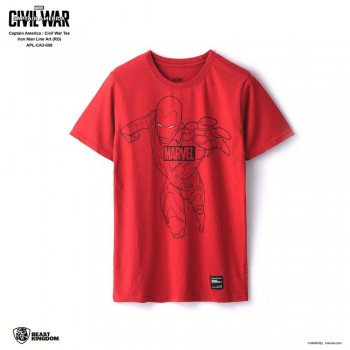 Marvel Captain America: Civil War Tee Iron Man Line Art - Red, Size L (APL-CA3-008)