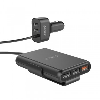 Orico UCP-5P 52W 5 Port (1xQC3.0 Port) With Extension Cord Car Charger - Black